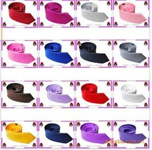 200pcs Free shipping hot sales silk neck tie for men / women, fashion New 2014 Skinny Tie for men 5cm Solid Color 145cm