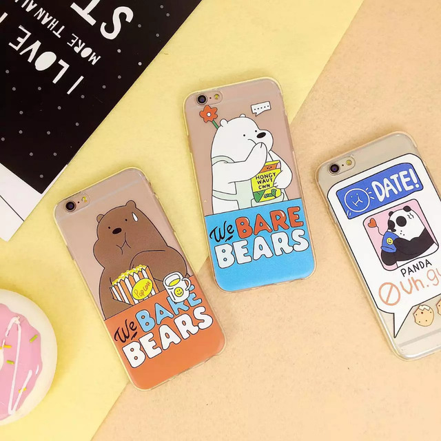 sale retailer fc6ec cb452 US $4.58 |2016 Newest Cute Charactor We Bare Bears Design Soft Cover Funda  Case For iphone 5 5s SE 6 6s 6plus 6s plus Transparent Cover on ...