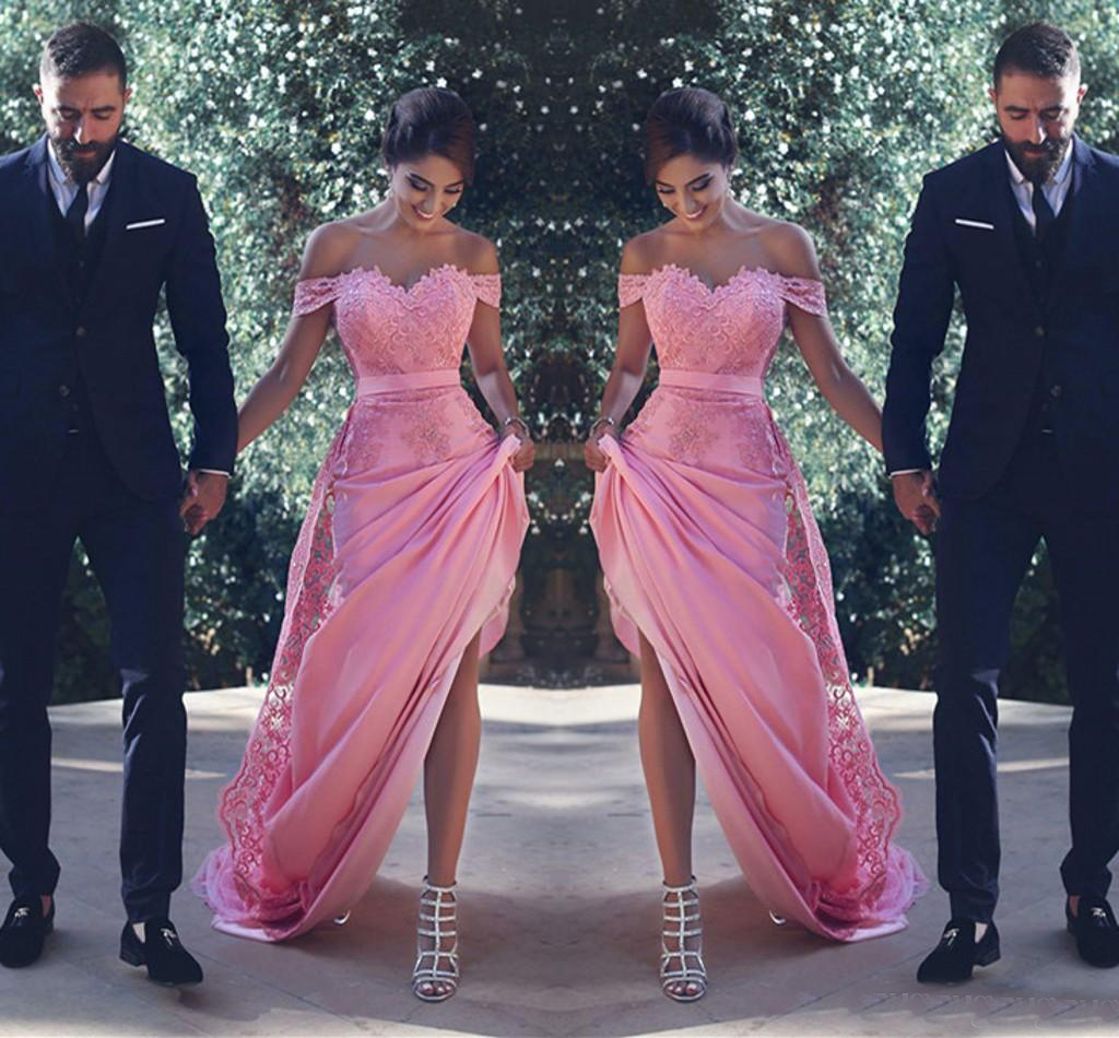 2019   bridesmaid     dresses   Off The Shoulder Chiffon And Lace Appliques Empire   dress   for wedding party