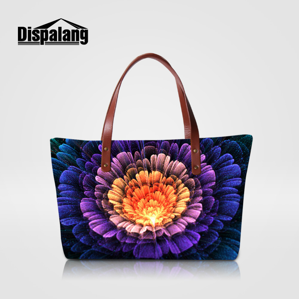 Dispalang Luxury Women Handbags Flower Print Girls Large Capacity Top Handle Bags Ladies Shoulder Bag High Quality Shopping Bags