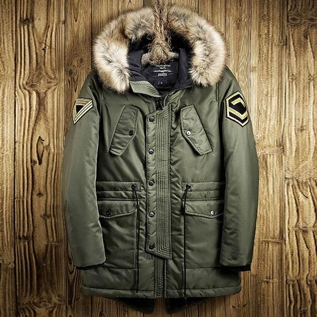 Uomini Giacca invernale Disegno Lungo Caldo Addensare Cappotti Moda  Maschile di Alta Qualità collo di Pelliccia deed8fa35b2