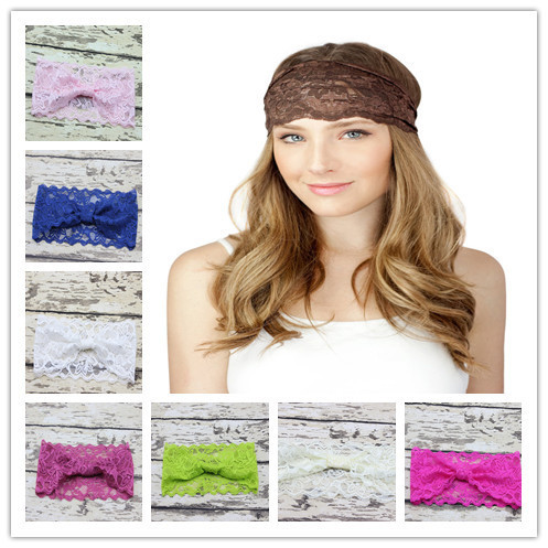 New 2015 Woman Wide Lace Headband for Hair Girl Stretchy Elastic Lace Headwrap Fashion Woman Hair Accessory 10pcs/lot