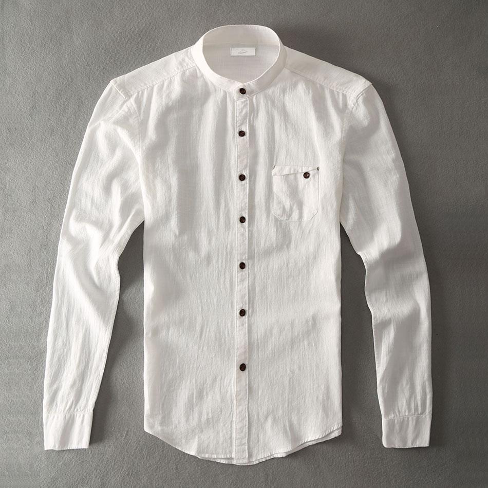 Grandad Mandarin Collar Casual Shirt Men Slim Cotton Hawaiian Shirt Male Social Fashion Wear
