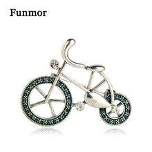 FUNMOR, broches Vintage para bicicleta, broche para niños de cristal de Color plateado, regalos para mujeres, broches pequeños para fiestas, banquetes, alfileres de recuerdo