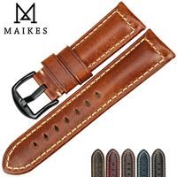 MAIKES Watch Accessories 22mm 24mm 26mm Watch Bands Brown Leather Strap Vintage Series Replacement Watchband For