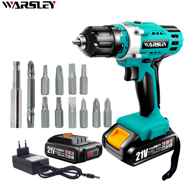 21V Electric Screwdriver Mini Drill Rechargeable Cordless Drill Lithium Ion Battery 1/2 Inch 2 Speed + 12 Drill