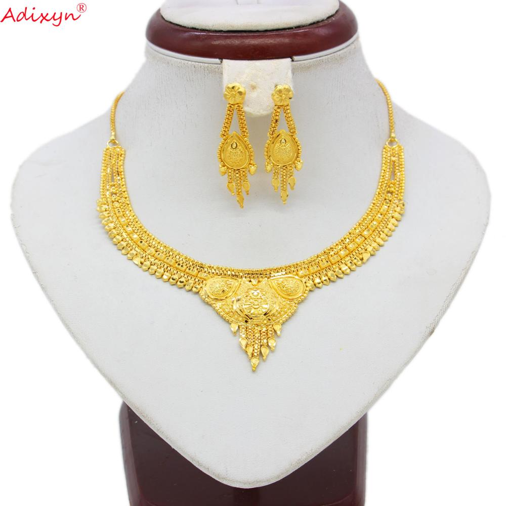 Adixyn African Exquisite Necklace&Earrings Jewelry Set for Women Gold Color /Copper Jewelry Ethiopian/India Party Gifts N060812(China)