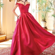Rotylee A-Line Satin Prom Dresses with Pocket Floor Length