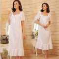 2016 Brand Sleep Lounge Women Sleepwear Cotton Nightgowns Sexy Long Robe Home Dress White Nightdress Plus Size #P5