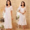 2016 Marca Salão Sono Mulheres Pijamas Nightgowns Robe Longo Sexy Vestido Casa Camisola Branca de Algodão Plus Size # P5
