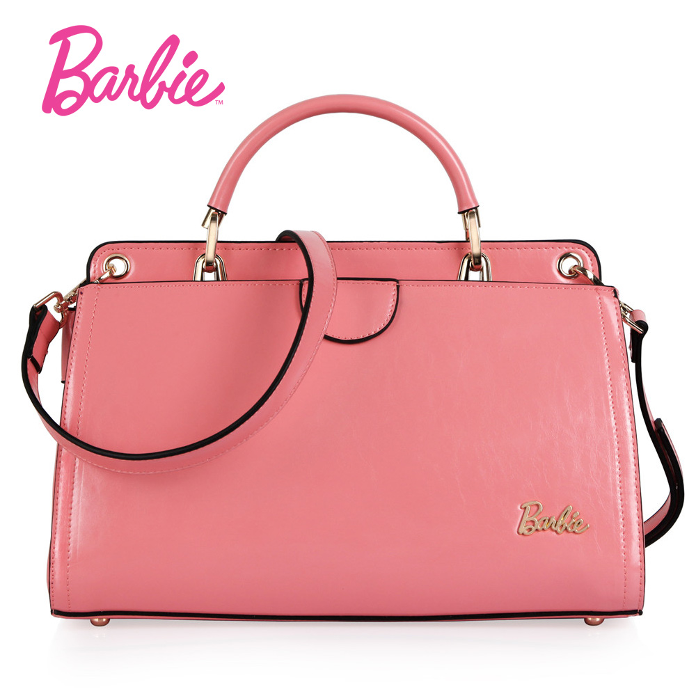 Barbie Women's Handbag Sweet Simple Style New Pink PU Leather Ladies Handbag Female Fashion Bag Crossbody Bags for women barbie 2018 women s shoulder bag leather simple style black ladies handbag female fashion cross body bags for women