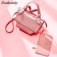 Znakomity Candy Color Women Shoulder Bag Handbag Summer Women Leather Messenger Bags Trapeze Pink Ladies Small Leather Bags 2019
