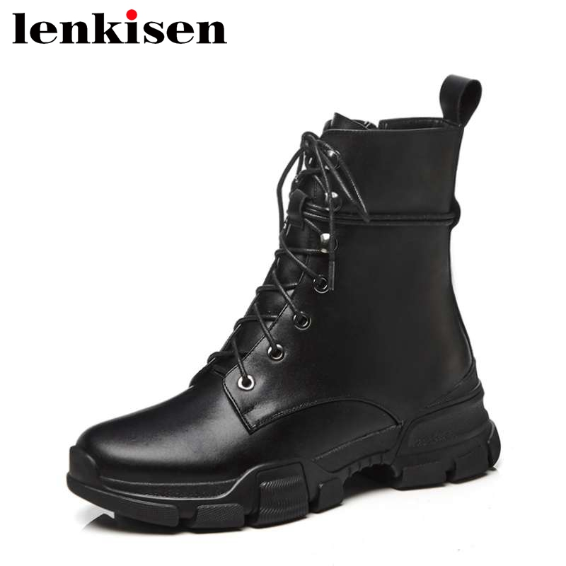 Lenkisen keep warm winter cozy shoes motorcycle boots med bottom zip genuine leather narrow band round toe women ankle boots L99Lenkisen keep warm winter cozy shoes motorcycle boots med bottom zip genuine leather narrow band round toe women ankle boots L99