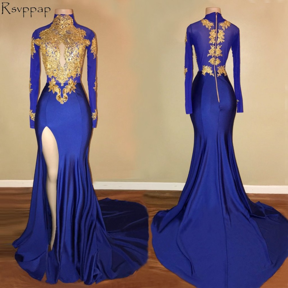 Sexy Long Mermaid   Prom     Dress   2018 High Neck Sheer Back Long Sleeves High Slit African Royal Blue   Prom     Dresses