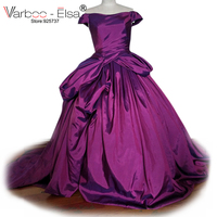 robe de soiree cap Sleeve taffeta Purple Prom Dresses 2017 lace up Prom Gowns Graduation Party Dresses ball gown Pageant dress