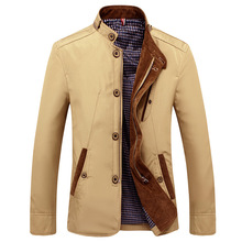 5d71f0237ef Spring Autumn Jacket Men Casual Solid Color Khaki Coats Men Fashion Stand  Collar Single Breasted Jackets