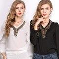 Nova Primavera Moda Ornamentos de Cobre Camisa Chiffon Das Mulheres Do Vintage Com Decote Em V Longo-sleeved Tops Blusa Plus Size Frete Grátis