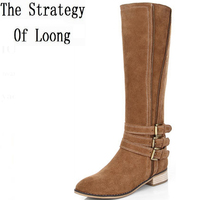 2017 New Arrival Women Winter Pure Color Buckle Short Plush Knee High Boot Spring Autumn Zip