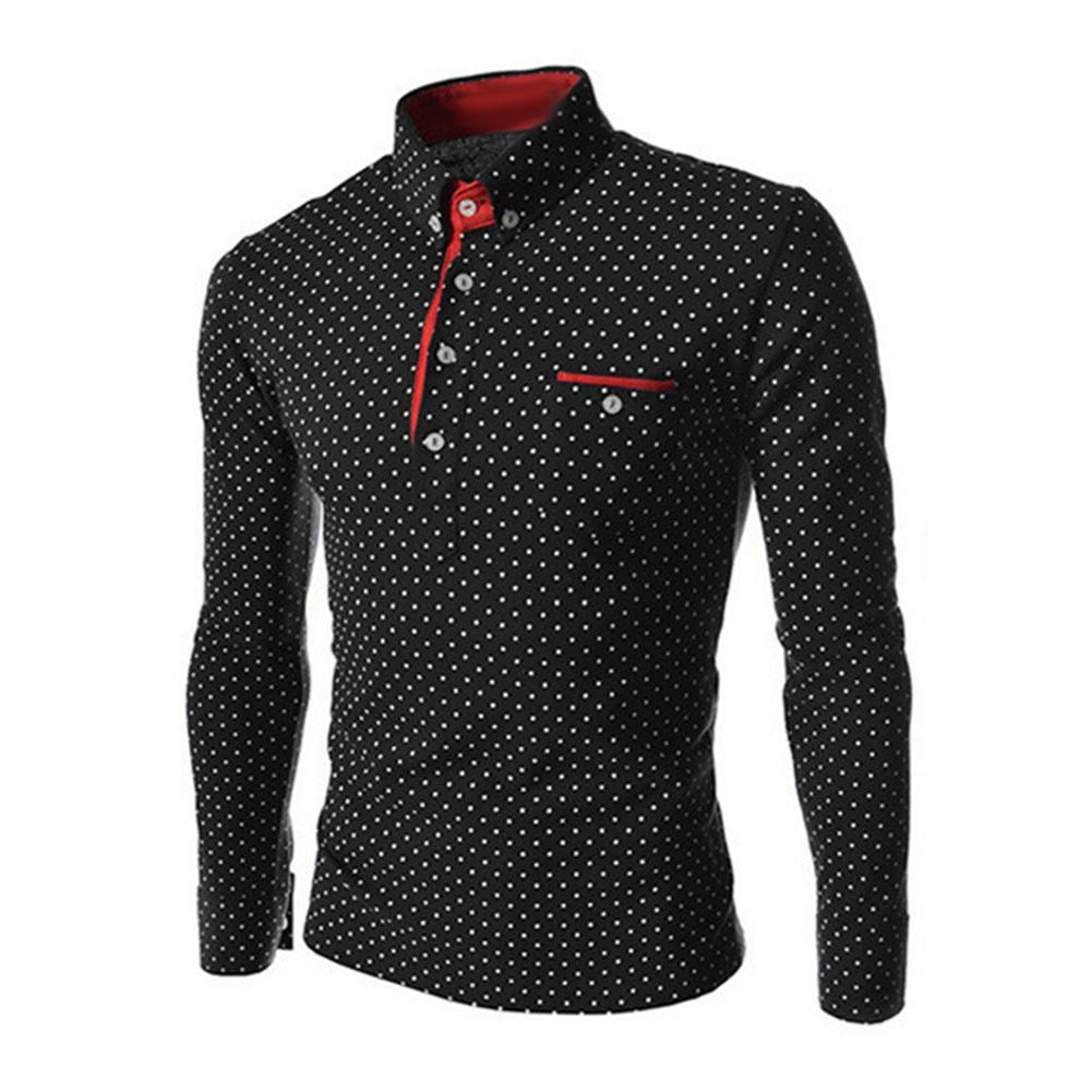 New Spring Autumn Plus Size Men Polka Dot Button Down Long Sleeve  Slim Top