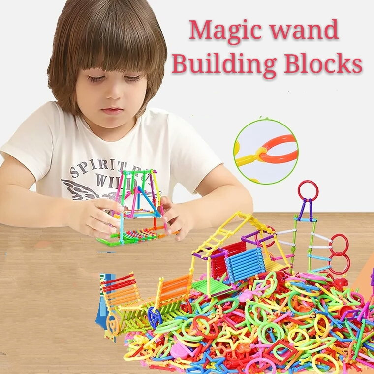 100 200pcs set Children smart magic bar colorful self locking bricks Building puzzle kindergarten kids educational toys in Puzzles from Toys Hobbies