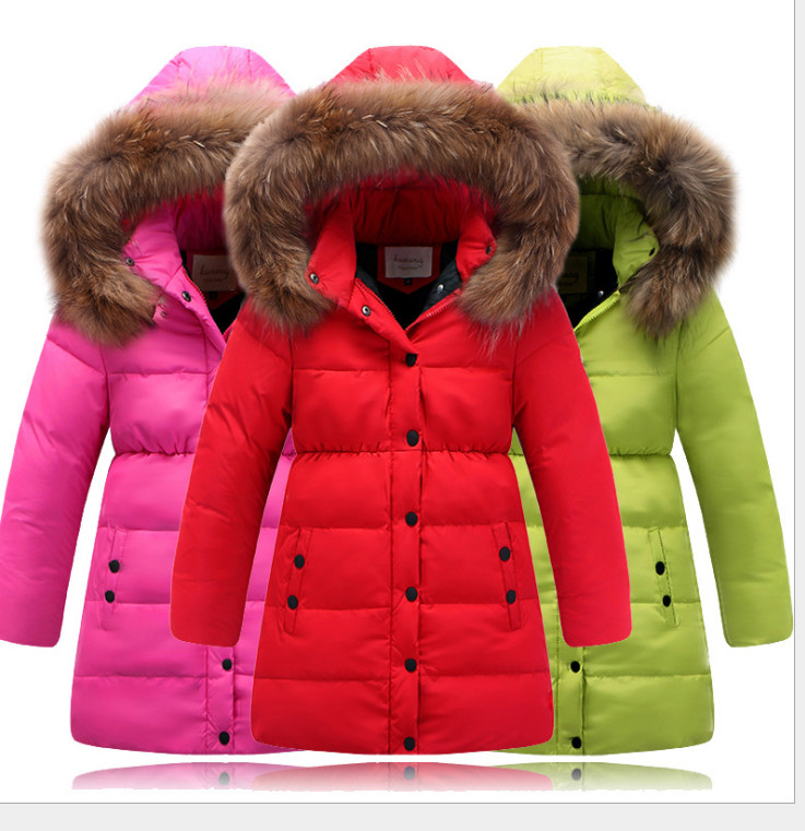 ФОТО winter jacket for  Girls down jacket for girls clothes natural hair collar hooded kids winter jackets girl winter coat Parkas