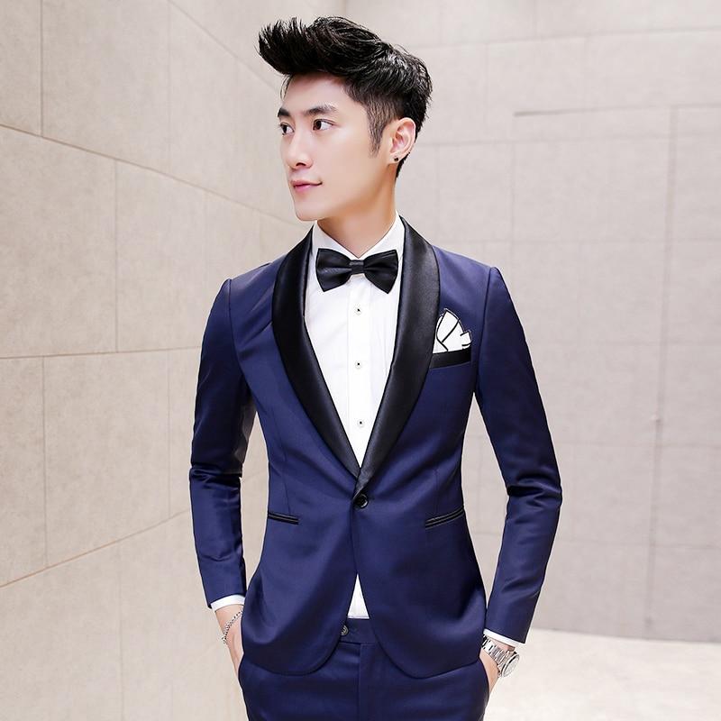 Blue Tuxedo Black Suits Mens Smoking Jackets Groom Wedding