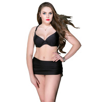 Plus Size Swimwear Solid Swimsuit Push Up Swim Wear Women Bandge Cross Bikini 2017 Newest Hot
