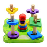 Children's Toys Baby New Frog Five Sets of Pillar Building Blocks Children's Intelligence Geometry Matching Pillar Toys