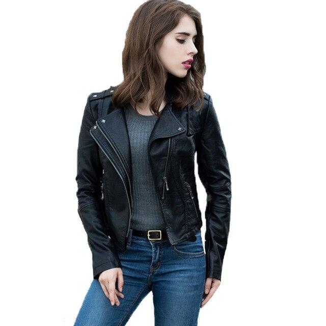 Jaqueta couro الأنثوية 2017 ربيع الخريف أسود سترة جلدية أزياء المرأة ضئيلة طويلة الأكمام قصيرة للدراجات النارية السائق سترة معطف