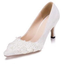 New Arrival Women's Beading Lace Flower Wedding Pumps High Heels Bridal Bridesmaid's Shoes White Ivory Banquet Shoes 1541 JJ