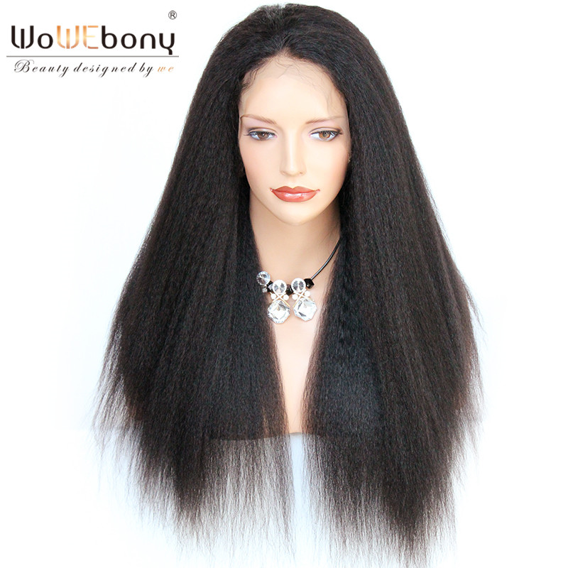 360 Lace Frontal Wig 4.5 Inch Lace Human Hair Wigs With Baby Hair Kinky Straight Brazilian Remy Hair Full End WoWEbony