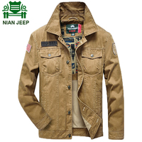 NIAN JEEP Brand Clothing Denim Jacket Men Military Style Army Outwear Coat For Man Plus Size
