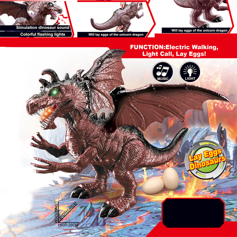 Electronic Toys 2017 New Children Electric Toy 6613 48cm Large Size Double Headed Dragon Wings Electric Dinosaur Walking Music With Cool Light