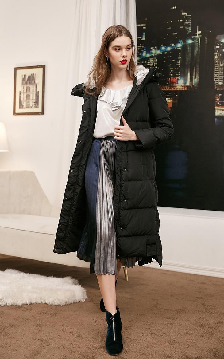 Vero Moda new detachable rabbit fur hooded long down jacket women | 318312503 8