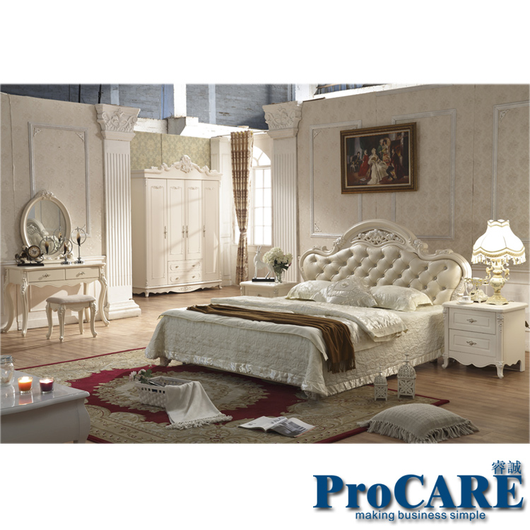 Hot Sale Five Pieces White Color Queen Size Solid Wood Hand Carved Modern  Princess Bedroom Furniture Set Made In China