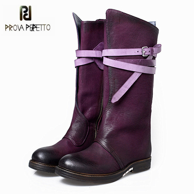 Prova Perfetto Fashion Purple Women Knee High Boots Female Genuine Leather Straps High Boots Flat Platform Rubber Shoes Woman prova perfetto black handmade women genuine leather mid calf boots buckle straps martin boots women platform rubber shoes woman