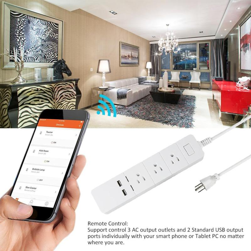 цена на WiFi Smart Extension Socket USB Power Socket US Standard Electrical Plug 3 AC Outlet 2 USB Smart Charging Ports App Control