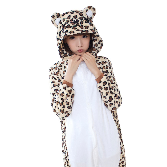c6386c9dd6 Spring Leopard Print Bear Fleece Women Men Ladies Adult Footed Onesie Gray  Rabbit Bunny Pajamas Hooded Romper Sleepwear