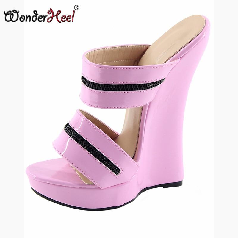 Wonderheel 18cm wedge ultra high heel Sexy fetish High Heel slip on patent pu platform heel