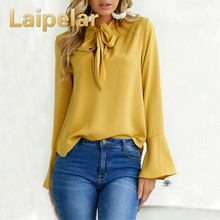 Laipelar Women Tops Long Sleeve Bow Flare Sleeve Lady Basic Tee Blusas Solid Color Tops 4 colors Spring Summer Shirts недорого
