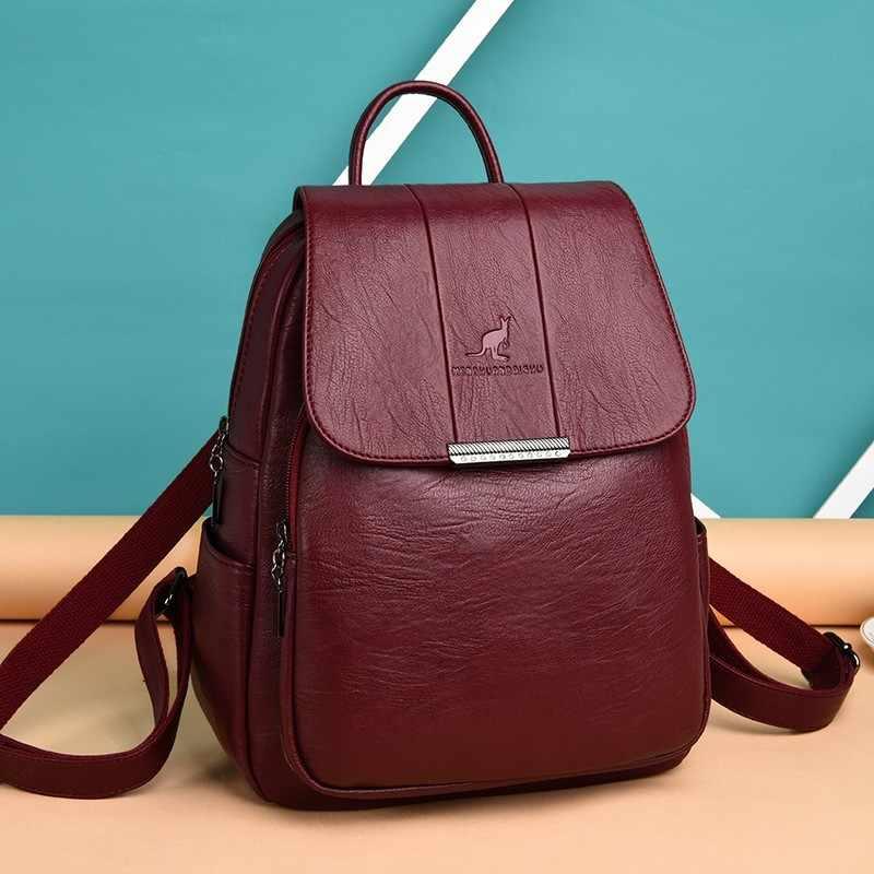 2019 Wanita Kulit Ransel Kualitas Tinggi Wanita Vintage Tas Ransel untuk Anak Perempuan Tas Sekolah Tas Travel Bagpack Wanita Sac Dos Kembali pack