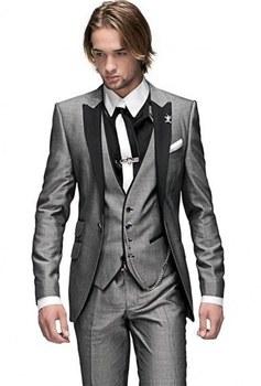 Handsome One Button Light Grey Groom Tuxedos Groomsmen Peak Lapel Mens Suits Blazers (Jacket+Pants+Vest+Tie) W:1259