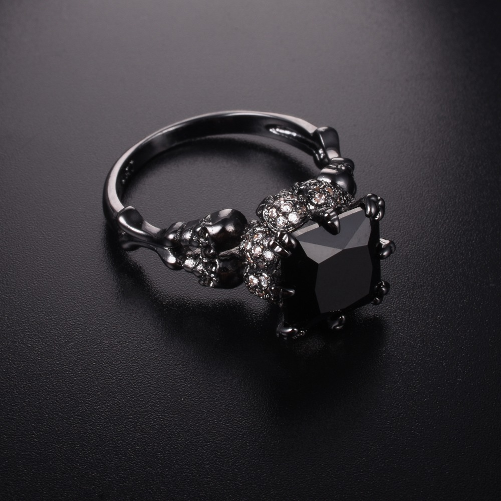 Jeulias Skull Ring Solid 100% 925 Sterling Silver Black gold obsidian diamond Womens Wedding Ring Punk Jewelry Size 5-10