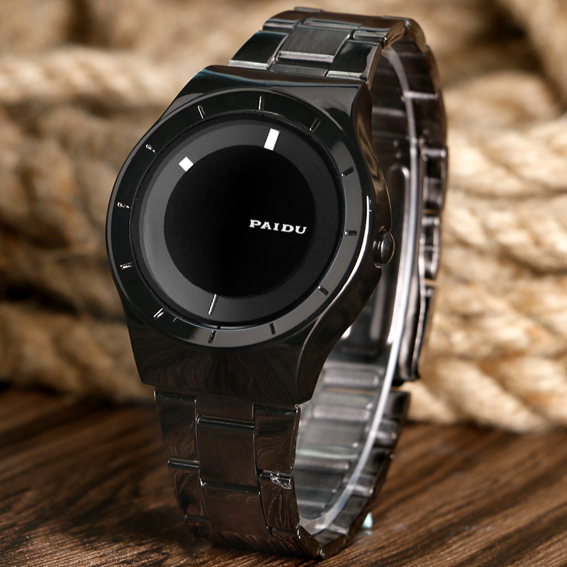 все цены на PAIDU Simple Turntable Analog Dial Black Stainless Steel Band Strap Dress Men Women Quartz Sport Wrist Watch онлайн