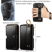 Genuine Cow Leather Wallet Finger Ring Belt Strap Case Pouch For Nokia 9 Pureview,for Asus Zenfone Max Pro (m2) Zb631kl Zb633kl
