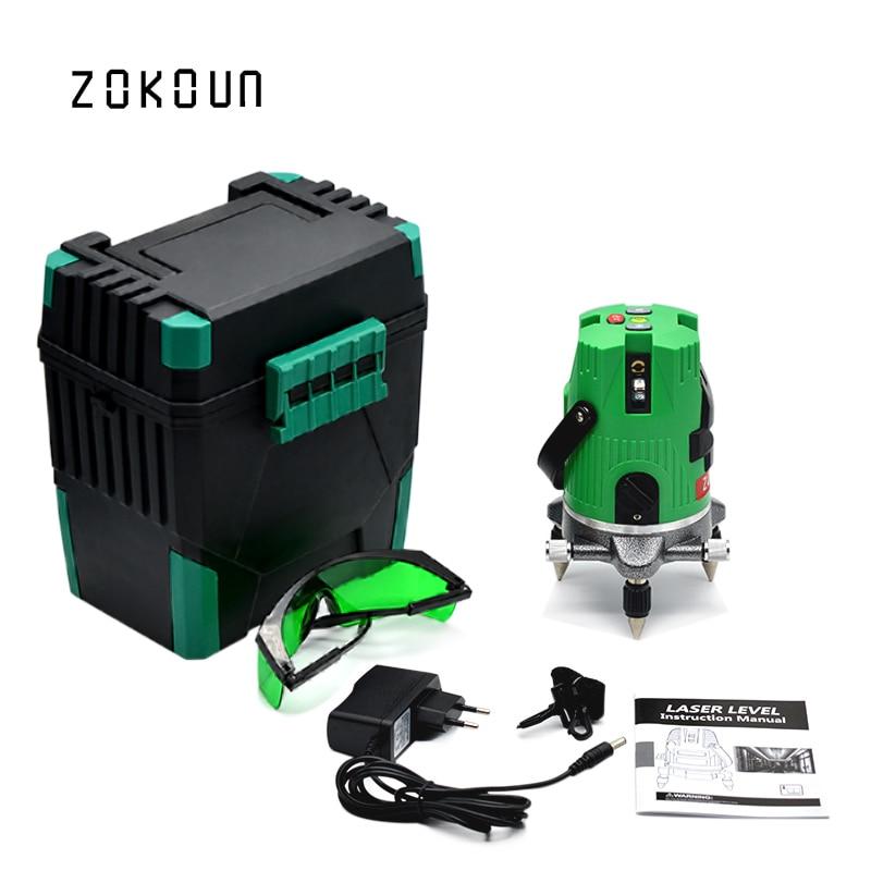 EU plug 5 lines 6 points 360 degree rotary outdoor mode and Tilt Slash Function cross green laser line level цены онлайн