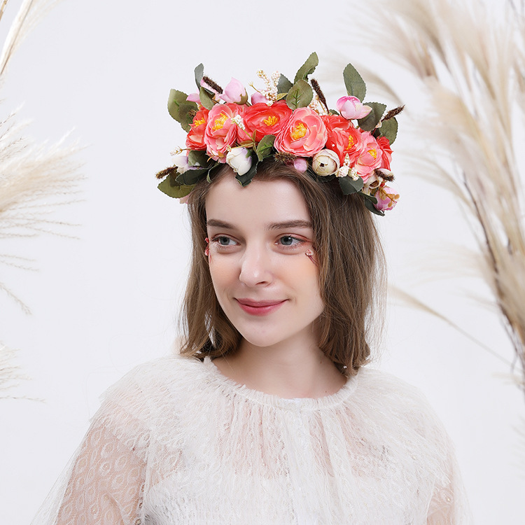 Bohemian Forest Queen Bridal Wreath Lady Big Flower Hair Band Pink Flowers Green Leaves Bridesmaid Headdress Wedding Accessories