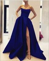 Элегантный насыщенного синего цвета Вечерние платья Длинные 2019 без бретелек сексуальный Высокий разрез атласная line Арабская, Дубай Стиль Ф