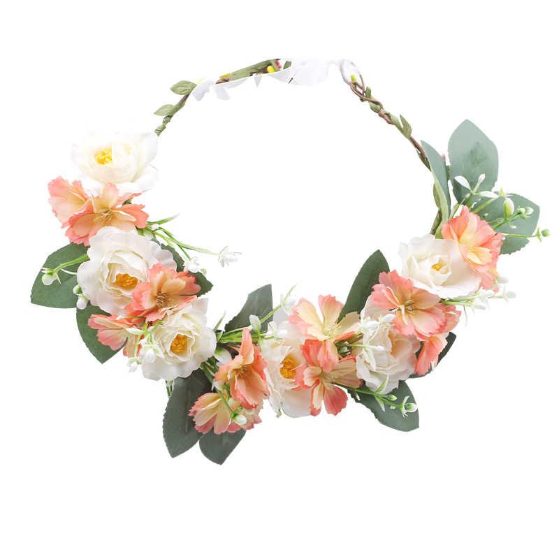 Rústico Flor de Cabelo Headbands Acessórios Para o Cabelo Nupcial Do Casamento Da Dama de honra Flower Crown headpieces Nupcial meninas Da Flor Guirlanda