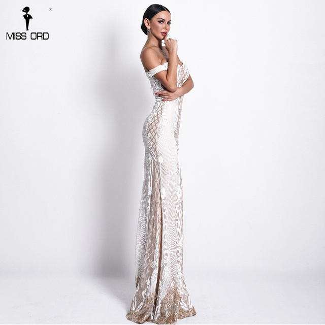 Missord 2019 Sexy One Shoulder Backless Sequin Dresses Female Elegant Retro geometry Party Bodycon Reflective Dress FT18623 3